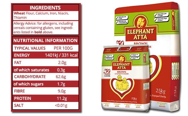nutrition information for Elephanat Atta brown flour