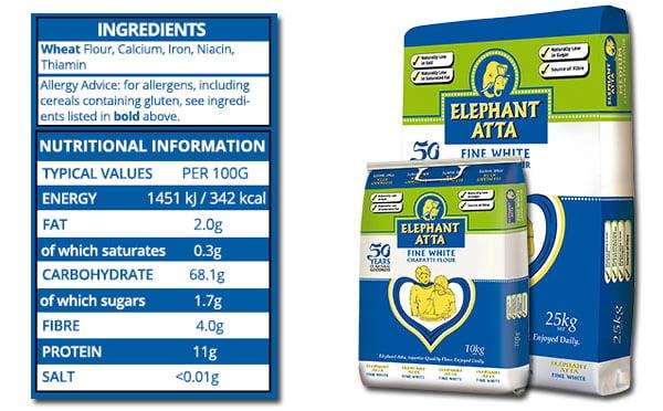 nutrition information for Elephanat Atta fine white flour