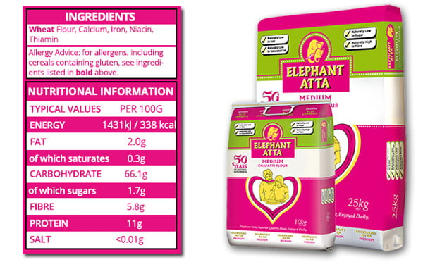 nutrition information for Elephanat Atta medium flour