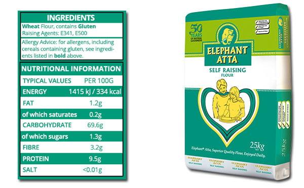 nutrition information for Elephanat Atta self raising flour