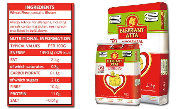 nutrition information for Elephanat Atta wholemeal