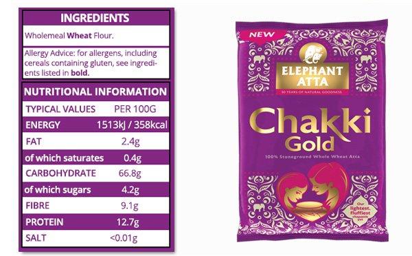 nutrition information for Elephanat Atta chakki gold flour