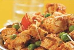 Matter paneer (made of tofu)